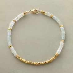 """LIGHT FILLED BRACELET -- In this aquamarine and vermeil beaded bracelet, the unmistakable glow of 18kt vermeil warms aquamarine's cool blue-greens. 14kt gold filled clasp. Handcrafted in USA exclusively for Sundance. 7-1/2""""L."""