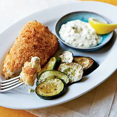 Crispy Fish with Lemon-Dill Sauce - Quick and Easy Fish and Shellfish Recipes for Dinner Tonight - Cooking Light Oven Fried Fish, Baked Fish, Fried Tilapia, Fish Fry, Baked Chicken, Shellfish Recipes, Seafood Recipes, Fish Dishes, Seafood Dishes