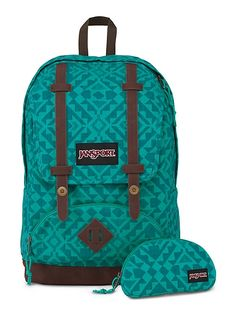 The new JanSport Baughman Backpack in Moonlit Teal Canvas Abstract Angles featuring a faux leather bottom and a laptop sleeve.