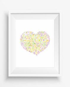 Floral Heart, Flower Art,Nursery Print, Digital Prints,  Flower Poster,instant download,home decor