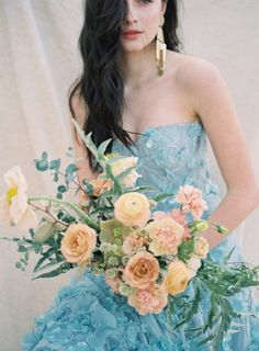 30 Color Wedding Dresses That Are Positively Perfect For Fall Brides ⋆ Ruffled Non White Wedding Dresses, Ballroom Wedding Dresses, Colored Wedding Gowns, Floral Wedding Gown, Minimalist Wedding Dresses, Traditional Wedding Dresses, Wedding Colors, Wedding Styles, Green Wedding