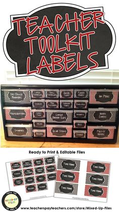 This classroom organizer teacher toolkit will keep your desk and teacher area looking cute! Labels are designed to use with Lowe's plastic storage cabinet and include labels for common clas (Favorite Teacher) Classroom Color Scheme, Red Classroom, Disney Classroom, Classroom Teacher, Classroom Organisation, Teacher Organization, Music Classroom, Classroom Themes, School Teacher