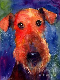 Cute Watercolor Airedale dog portrait painting by Svetlana Novikova