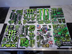 Monster Energy 2pc assorted RC Motocross Stickers !!!! Look awesome on all your RC body's !! NOTE: You will receive 2 monster energy motocross sticker sheets picked at random per bag