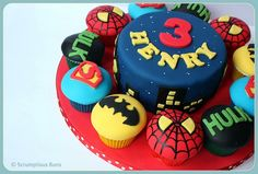 Marvel Super Heroes by Scrumptious Buns (Samantha), via Flickr birthday-cake-ideas-for-my-boys