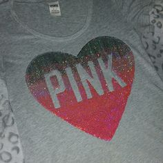PINK BLING SHIRT Grey heart pink bling shirt PINK Victoria's Secret Tops Tees - Short Sleeve