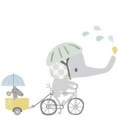 Sticker décoration chambre d'enfant éléphant fait du vélo