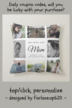 Modern Chic Mother's Day Mom 16 - Photo Collage Throw Pillow - tap/click to get yours right now! #ThrowPillow #mother&39;s #day, #mom, #elegant, #chic, Family Photo Collages, Family Photos, Rustic Chic, Elegant Chic, Love You Mom, Mom Family, Mothers Day Cards, Animal Skulls, Butterfly Design