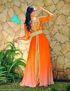 caftan marocain orange 2015