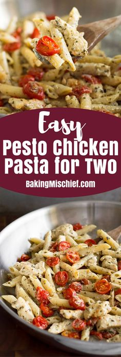 This Easy Pesto Chicken Pasta for Two is a perfect easy pasta dinner. From BakingMischief.com | Dinner for Two | Date Night Ideas Dinner For Two, Pesto Chicken, Recipes Dinner, Night, Cereal, Pesto Pasta Chicken, Corn Flakes, Breakfast Cereal