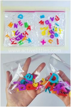 Here is a fun and easy sensory bag for kids who are learning about the alphabet, early literacy and letters in general. This is a hair gel and magnet letters filled sensory bag for early learning. Play a game of I Spy to call out the letters you see! Sensory Activities Toddlers, Preschool Learning Activities, Alphabet Activities, Infant Activities, Preschool Activities, Alphabet Writing, Kids Alphabet, Summer Activities For Preschoolers, Sensory Activities For Preschoolers