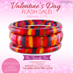 FLASH SALE!  Limited Quantities only available until 2/7!  Trendy Trio Bangle for a steal at only $15.90!  Buy 2 get the 3rd at 1/2 price!  Get it at http://azuliskye.com/Annahoward  #azuliskye #valentines #armcandy #jewelry