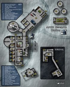 """This Arctic Research Station was one of my modern maps for a series called """"Global Positioning"""" It was later collected in the Modern book """"Critical Locations. Fantasy City, Fantasy Map, Space Fantasy, Cyberpunk, Rpg Star Wars, D20 Modern, Station Map, Ship Map, Sci Fi Rpg"""