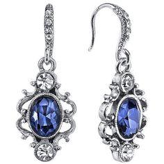 Downton Abbey Filigree Oval Drop Earrings ($25) ❤ liked on Polyvore featuring jewelry, earrings, blue, filigree earrings, fish hook earrings, artificial jewellery, blue earrings and fake jewelry