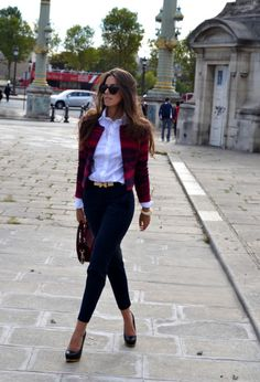 30 Fashion: Office Look For The  Women I just love a crisp white button down :)