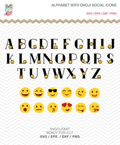 Emoji Alphabet bundle with Social Icons Emoticons Facebook SVG PNG DXF eps Font, Vinyl Decal Cut File Cricut Design Silhouette studio by SvgCutArt on Etsy
