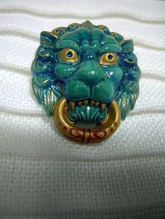 ButtonArtMuseum.com -Porcelain Arita Door Knocker BUTTON: Oriental Asian Lion, Realistic Design, Teal, Gold Highlights, Signed Japan & Japanese Script #AritaButton