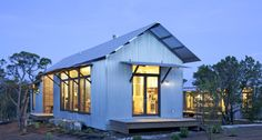 Prefab: Porch House by Lake Flato Future House, Lake Flato, Casas Containers, Cabins And Cottages, Modular Homes, Little Houses, Tiny Houses, Modern Houses, Guest Houses