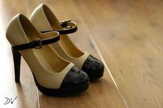 classy, black and cream maryjane high heels