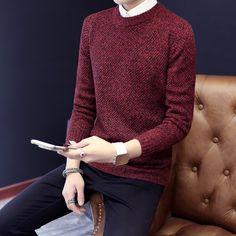 2016 Nuevos Hombres de la Moda Suéter de Lana Otoño Invierno Del O-cuello de Prendas de Punto Grueso Elegante Pure Color Pullover Stretch Para Hombre Suéteres