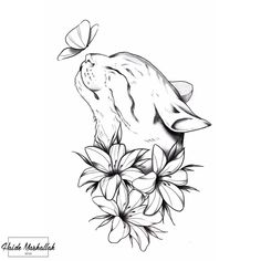 Cool Art Drawings, Pencil Art Drawings, Art Drawings Sketches, Cat Drawing, Animal Drawings, Nature Drawing, Tattoo Sketches, Cute Tattoos, Body Art Tattoos