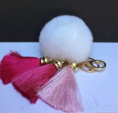 Pink Gradient Trio Ice Silk Tassel fur pom pom keyring Rex Rabbit bag charm ball fur charm