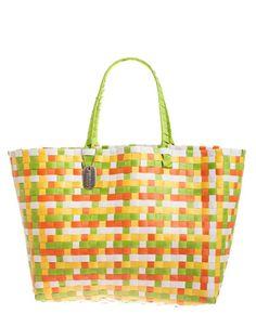 ACCESSORIES :: Bags :: Multicoloured Orange Plastic Woven Beach ...