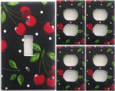 Cherries Fruit Kitchen  light switch Plate covers Set Of 5 Wall Decor Decoration #Leviton