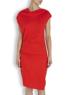 Sonar red wool jersey dress - Women