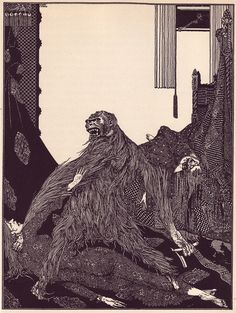 Ink illustration from Edgar Allan Poe's 1919 reprint of Tales of Mystery and Imagination by Harry Clarke