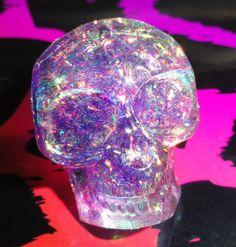 Purple Glitter Skull Ring, Kawaii Resin Ring, Skull ring