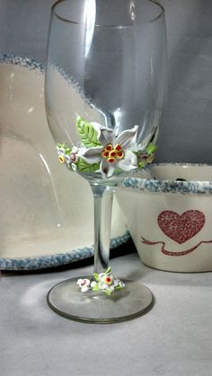 When it rains in WA state, I have an excuse to make things like these polymer clay embellished wine glasses