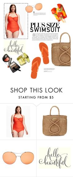"""""""hello beautiful"""" by theworldisatourfeet ❤ liked on Polyvore featuring Old Navy, ViX, Gucci, Havaianas, stylishcurves, plussizeswimsuit and plus size clothing"""