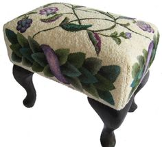 """""""Queen Vines"""" footstool designed by Kim Nixon, hooked by Peggy Hannum"""