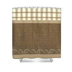 Shower Curtain Country Plaid Burlap by FolkandFunky on Etsy
