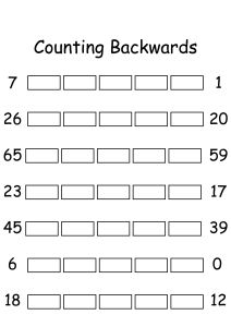 Counting Backwards by 1s - Write Missing Numbers Worksheets for Kindergarten,First,Second Grade - Math Worksheets | SchoolMyKids.com
