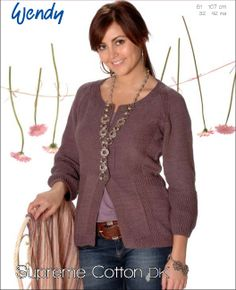 Free knitting pattern - Fitted cardigan in Wendy Supreme Luxury Cotton DK: http://www.mcadirect.com/shop/wendy-supreme-luxury-cotton-dk-100g-p-2576.html