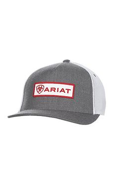 93ccb10ed6ac7 Ariat Grey with Red Patch Logo and Mesh Back Snap Back Cap