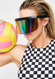 Rainbow Shock Waves Shield Sunglasses cuz you got that spark. These sikk af sunglasses have a big shield style lens with a rainbow exterior and black frames.