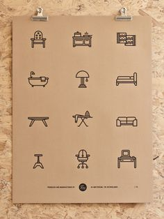 Amsterdam-based graphic designer and illustrator Tim Boelaars posted on his site a series of mono-weight icons he's drawn for everyday use. Now he's produced a series of screenprints that each gather a set of the icons.