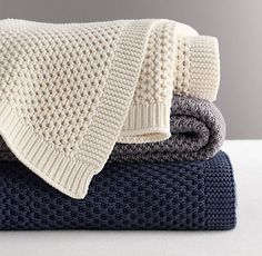 Chunky Cotton Knit Throw what kind of stitch is this? I want a King sized one for our bed. <3 Navy, Gray and Off-White