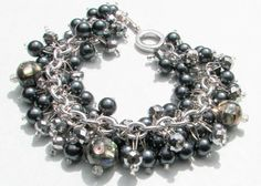 Black Hematite Pearl and Silver Crystal by SeagullSmithJewelry, $27.00