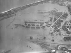Aerial view showing flooding to RAF houses East of dock on 1 Feb 1953. Felistowe