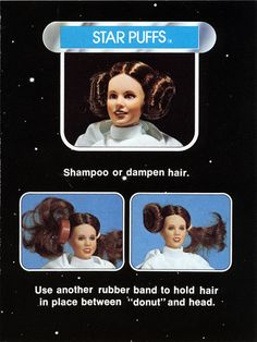 "Princess Leia Doll with ""star puffs"" - I had this and other characters (Han Solo was my first celeb crush)"