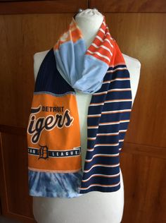 UPCYCLED t-shirt scarf... Detroit Tigers... orange white blue. $20.00, via Etsy.