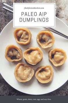 Paleo AIP Steamed Dumplings from Flash Fiction Kitchen- Tigernut flour Primal Recipes, Cooking Recipes, Pork Recipes, Asian Recipes, Steamed Dumplings, Paleo Appetizers, Paleo Dinner, Keto, Snacks