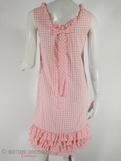 60s Pink Gingham Ruffled Shift Dress  sm by BeeDeeVintage on Etsy.