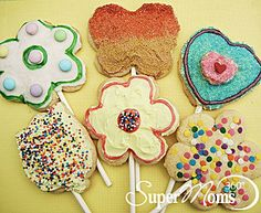 Springtime Cookie Pops - Brighten a friend or family member's day with these sunshine-filled spring cookies. Tags: easy spring recipe | easy spring dessert | kids spring recipe | kids spring dessert | SuperMoms360.com