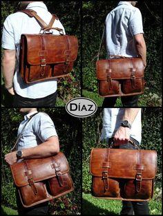 DIAZ cuero media Messenger maletín / mochila portátil por DiazBags