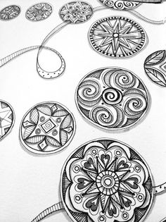 Doodling Circles in Black, White, and Grey